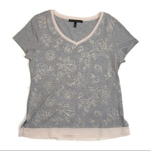 White House Black Market Gray Layered Casual Tee